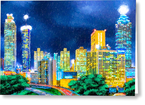 Atlanta Skyline At Night - Greeting Card
