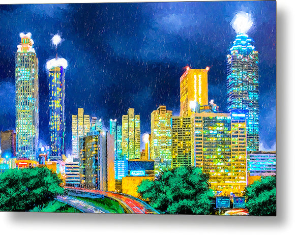 Atlanta Skyline At Night - Metal Print