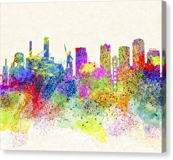 Birmingham Alabama Skyline Art - Canvas Print