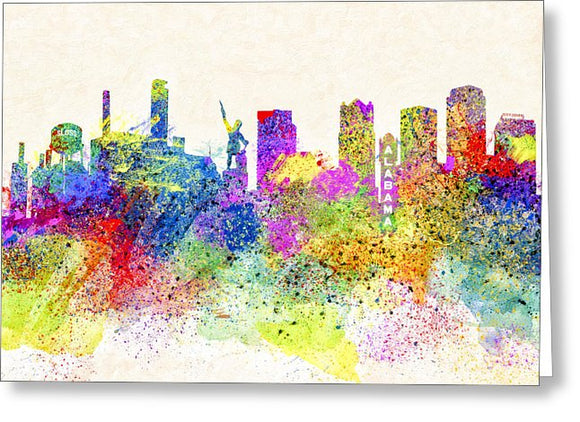 Birmingham Alabama Skyline Art - Greeting Card