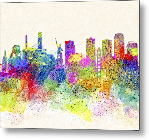 Birmingham Alabama Skyline Art - Metal Print