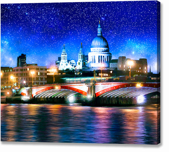 Blackfriars Bridge And St. Paul's Cathedral - London Thames Canvas Print