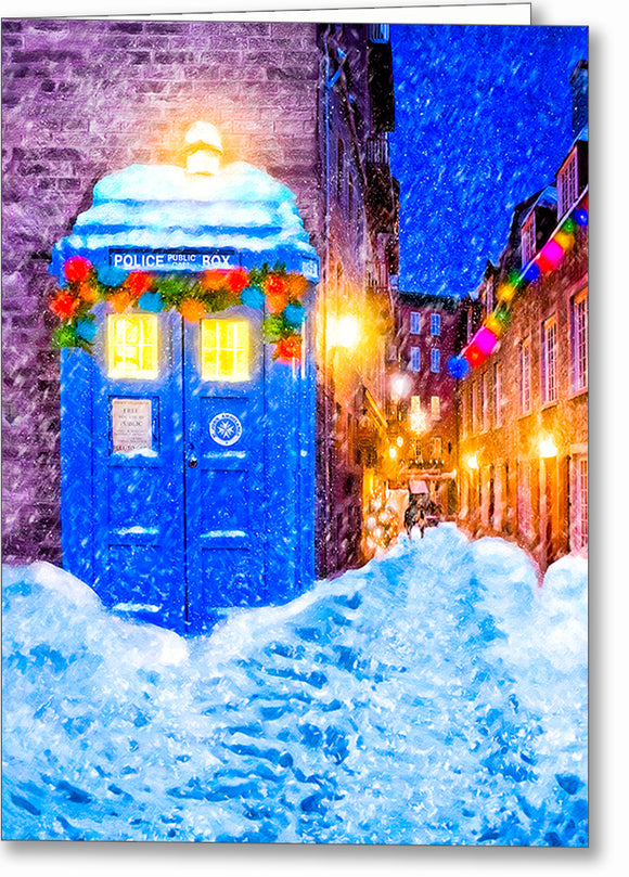 Blue Police Box - British Christmas Card