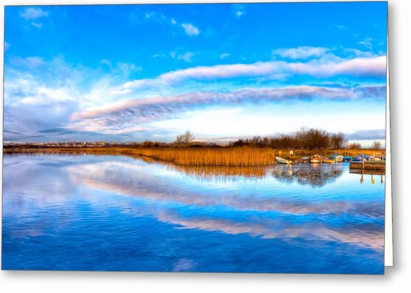 Blue Skies Over The River Corrib - Galway Ireland Greeting Card