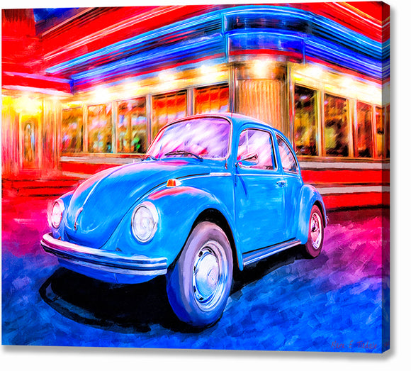 Blue Volkswagen Bug - Classic Car Canvas Print