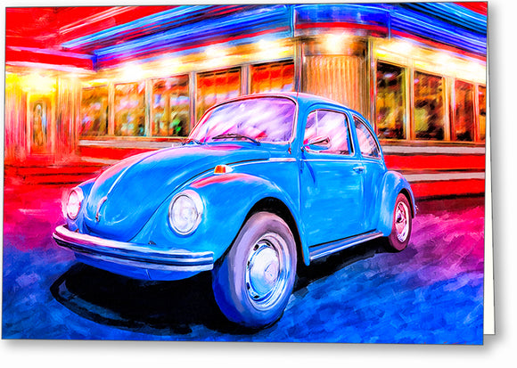 Blue Volkswagen Bug - Classic Car Greeting Card