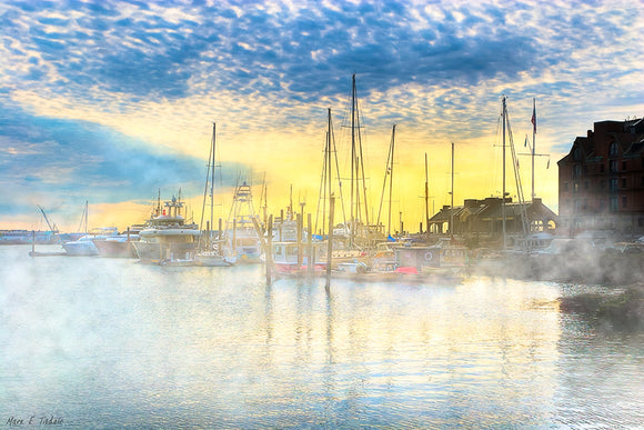 Boston Harbor Sunrise - Long Wharf Art Print