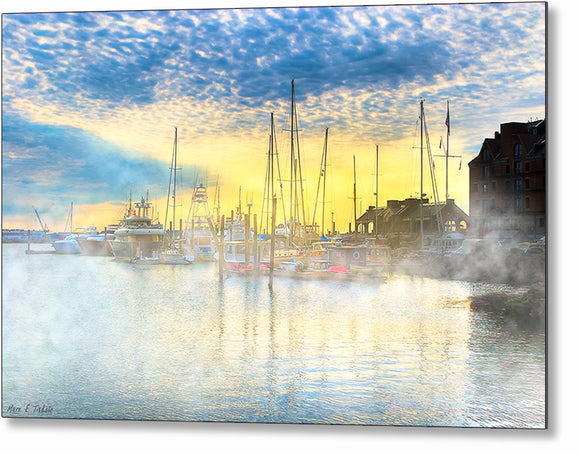 Boston Harbor Sunrise - Long Wharf Metal Print