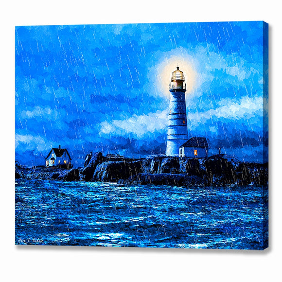 Boston Light In The Rain - Lighthouse Canvas Print