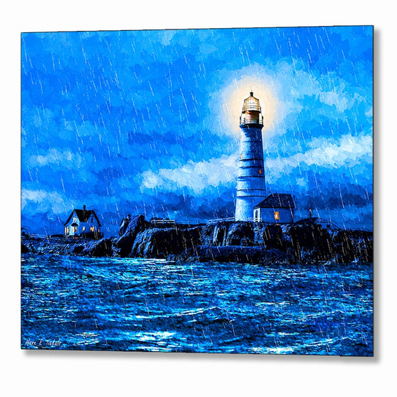 Boston Light In The Rain - Lighthouse Metal Print