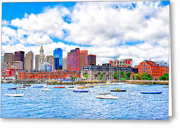 Boston On The Water - Harbor Greeting Card