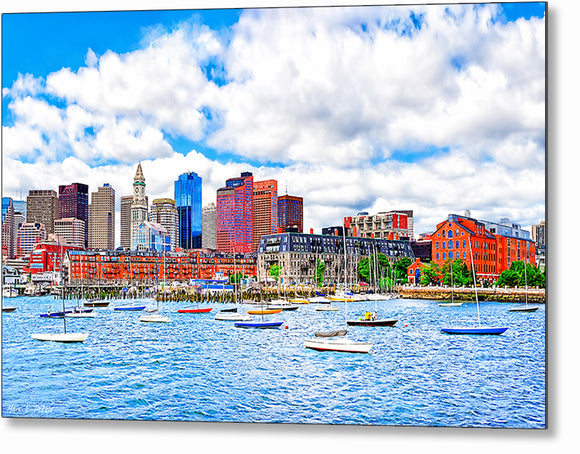 Boston On The Water - Harbor Metal Print