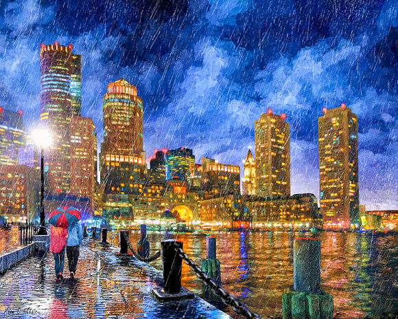 Boston Rain - Fan Pier Skyline View Art Print