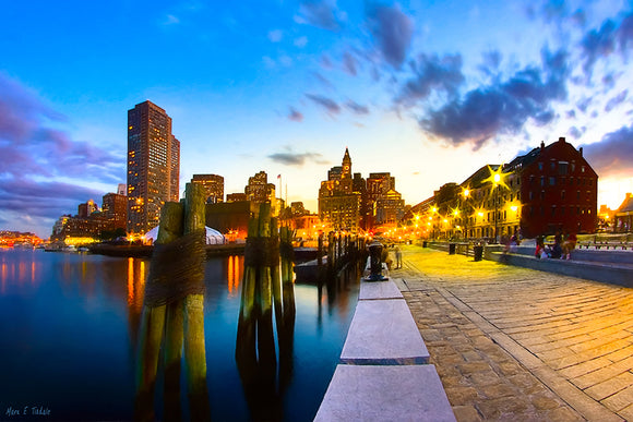 Boston Skyline At Night - Long Wharf Art Print