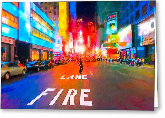 Bright Lights of Times Square - New York City Greeting Card