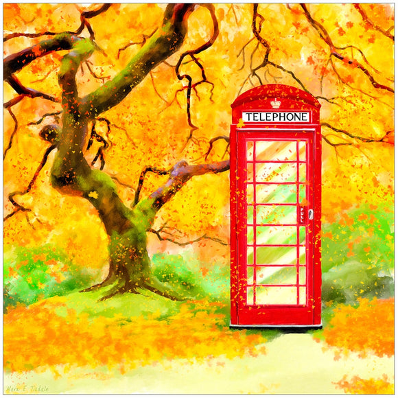 Britain In Autumn - Red Telephone Box Art Print