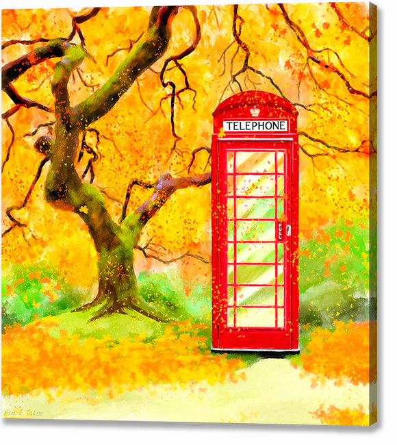 Britain In Autumn - Red Telephone Box Canvas Print