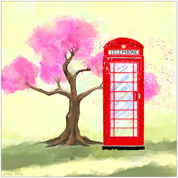Britain in Spring - Red Telephone Box Art Print