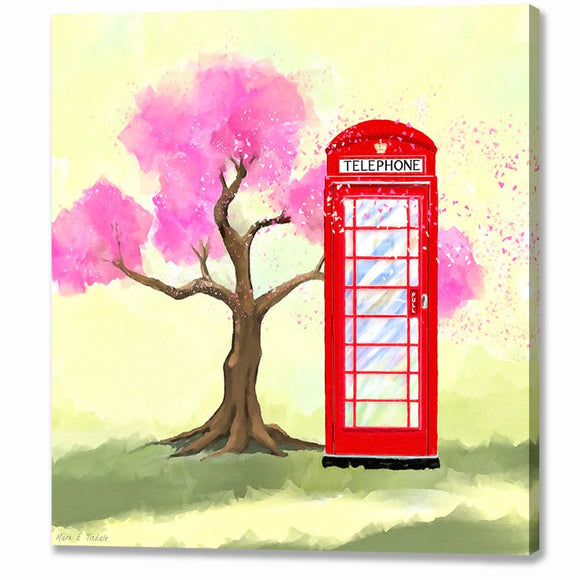 Britain in Spring - Red Telephone Box Canvas Print