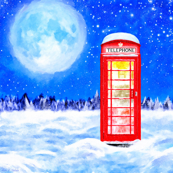 Britain In Winter - Red Telephone Box Art Print