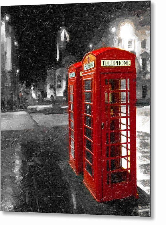 British Phone Box - Edinburgh Metal Print