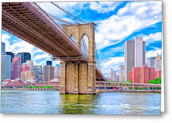 Brooklyn Bridge And The Skyline - New York City Greeting Card
