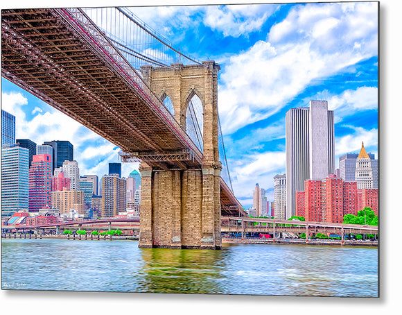 Brooklyn Bridge And The Skyline - New York City Metal Print