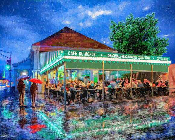 Cafe Du Monde - New Orleans In The Rain - Art Print