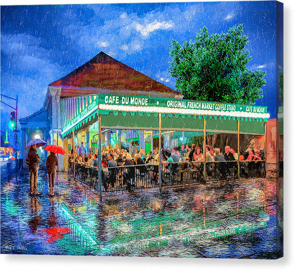 Cafe Du Monde - New Orleans In The Rain - Canvas Print
