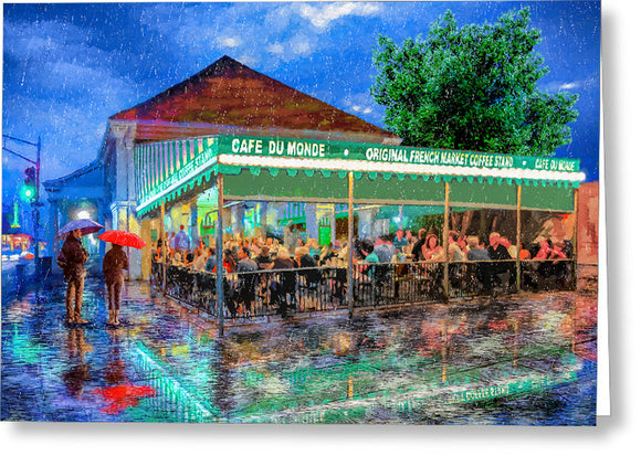 Cafe Du Monde - New Orleans In The Rain - Greeting Card
