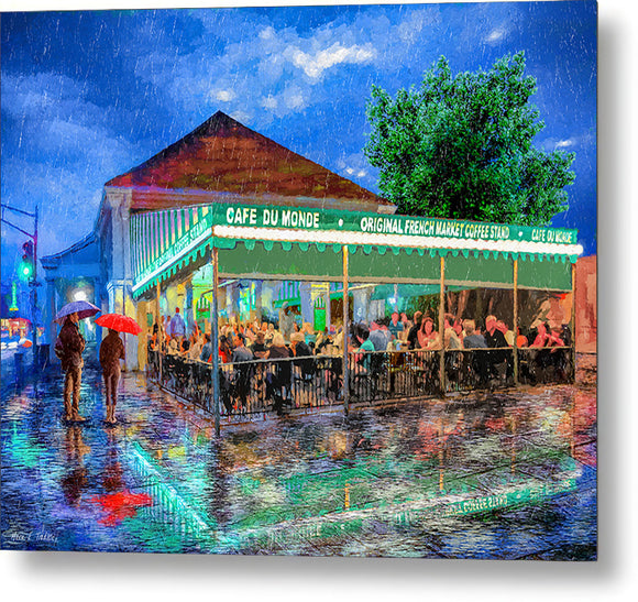 Cafe Du Monde - New Orleans In The Rain - Metal Print