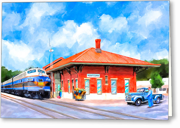 Central of Georgia Depot - Montezuma Georgia Greeting Card