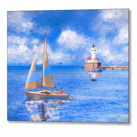 Chicago Harbor Lighthouse Metal Print