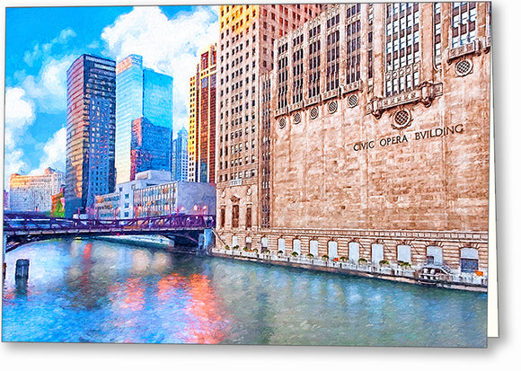 Chicago River - Skyscraper Greeting Card