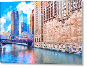 Chicago River - Skyscraper Metal Print