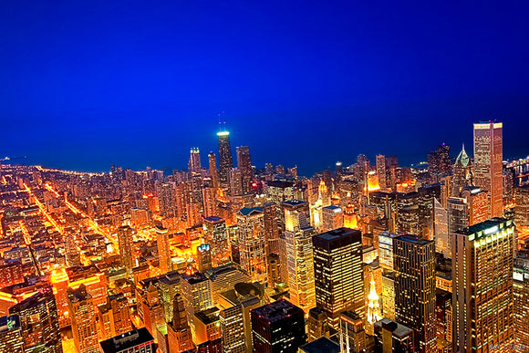 Chicago Skyline At Night - Aerial Art Print