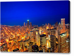Chicago Skyline At Night - Aerial Canvas Print