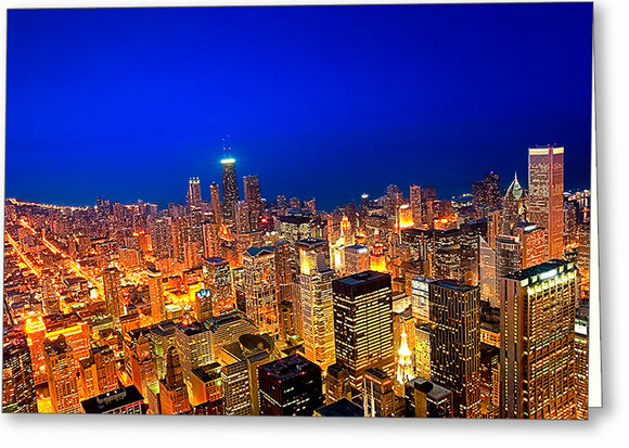Chicago Skyline At Night - Aerial Greeting Card