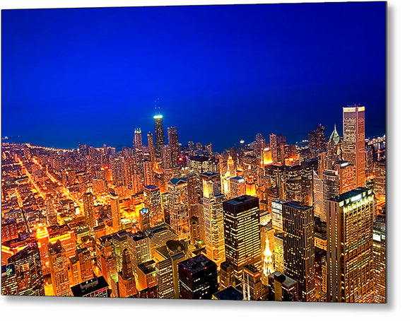 Chicago Skyline At Night - Aerial Metal Print