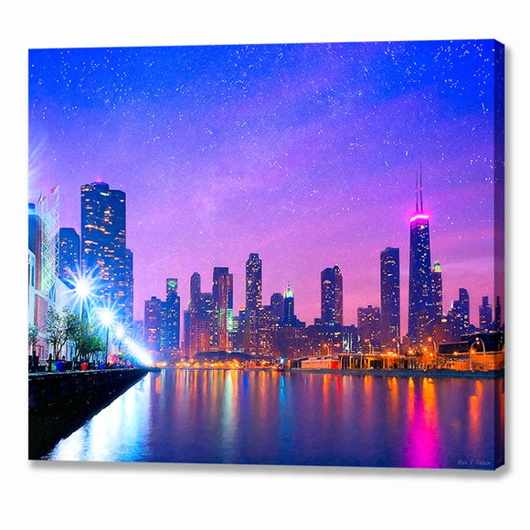 Chicago Skyline - Night Canvas Print