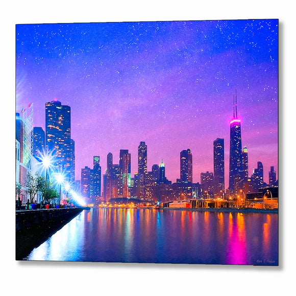 Chicago Skyline - Night Metal Print