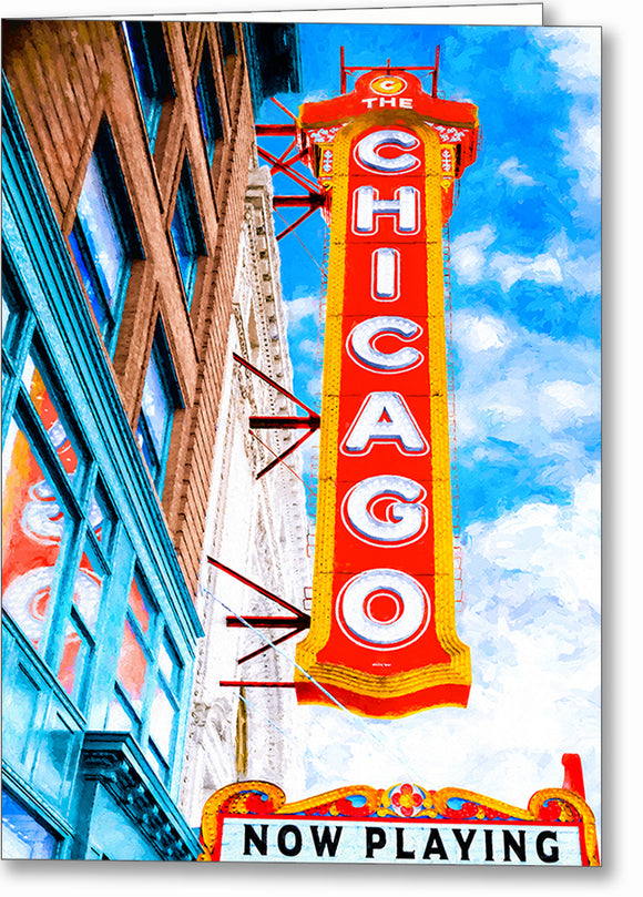 Chicago Theatre Sign - Historic Landmark Greeting Card
