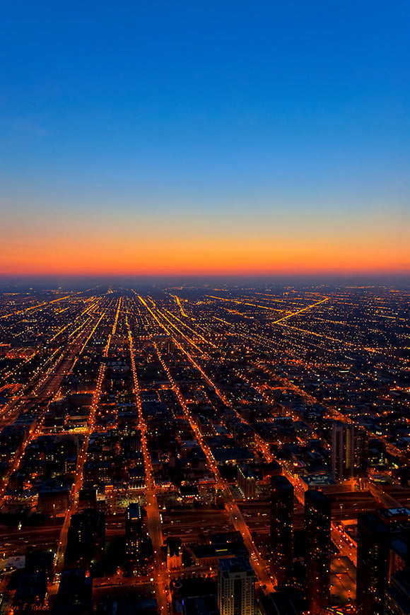 City Streets At Night - Chicago Aerial Art Print