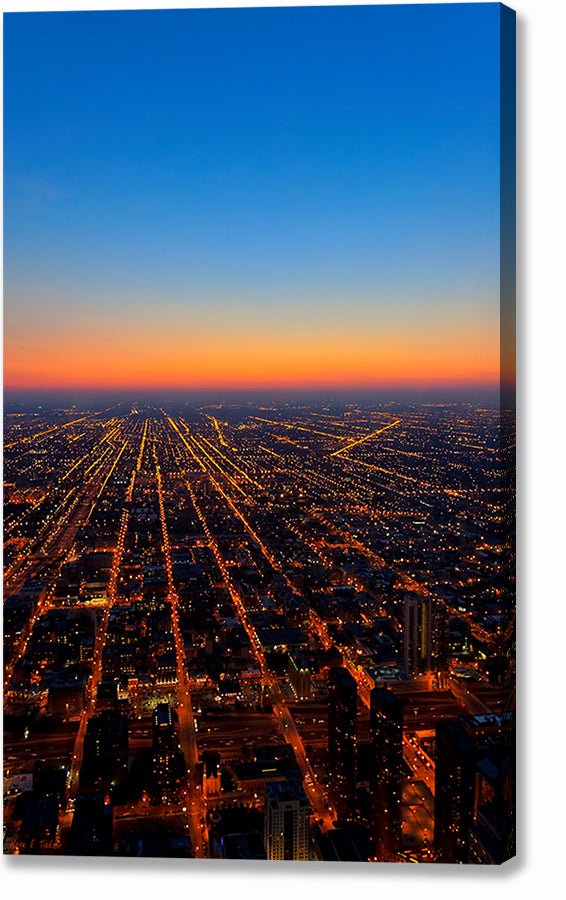 City Streets At Night - Chicago Aerial Canvas Print