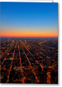 City Streets At Night - Chicago Aerial Greeting Card