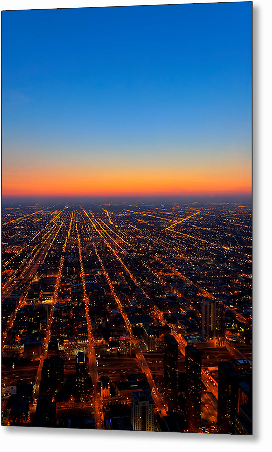 City Streets At Night - Chicago Aerial Metal Print
