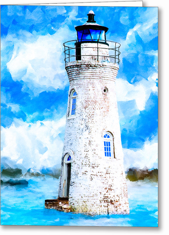 Cockspur Island Lighthouse - Georgia Coast Greeting Card