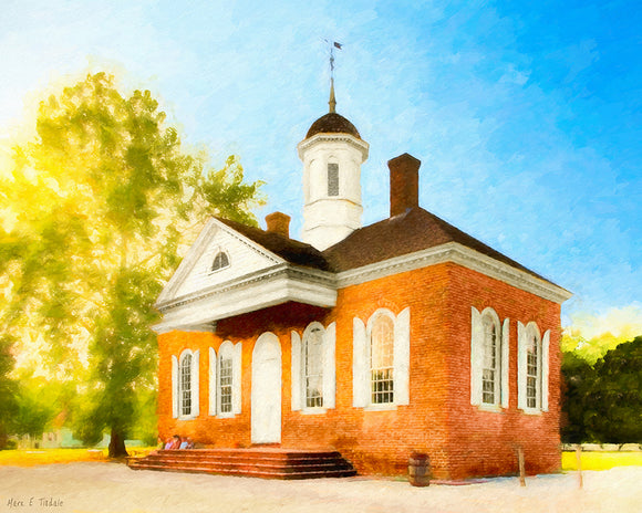 Colonial Courthouse - Williamsburg Virginia Art Print