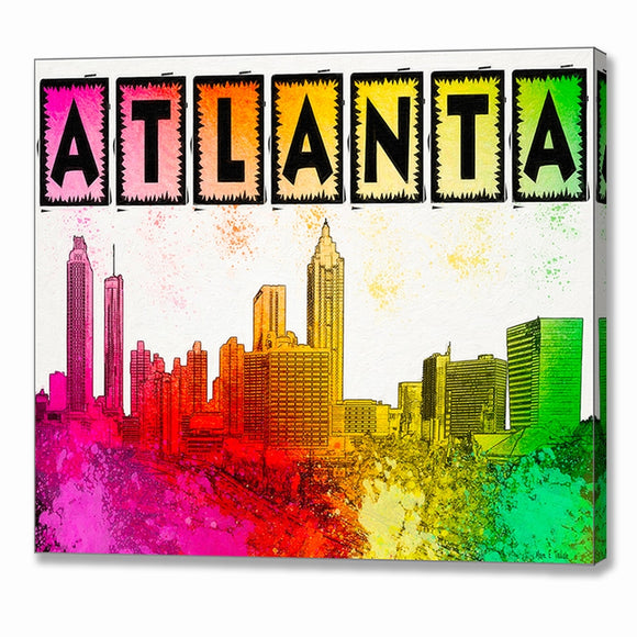 Colorful Atlanta Skyline Canvas Print