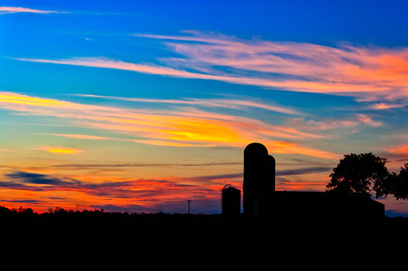 Colorful Farm Scene - Georgia Sunset Art Print